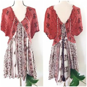 Free People Floral Tassel Trim V Back Boho Tunic L